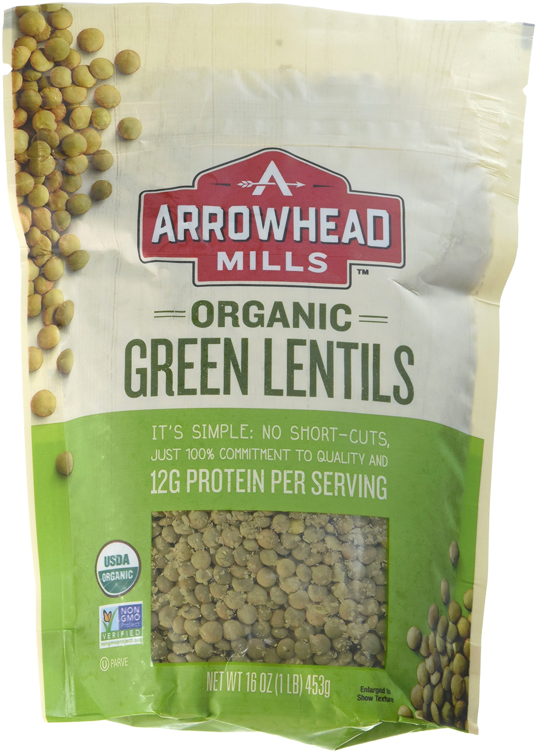 Arrowhead Mills Organic Green Lentils, 16-Ounce Bags (Pack of 6)