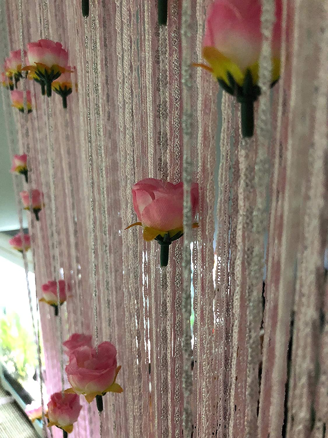 Hysenm Door String Curtains with Rose Flower 39x79 Inch Tassel Panel Home Décor for Doorways Dining Room Girls Bedroom Closet Doors Wedding Party, Pink 39x79 Inch