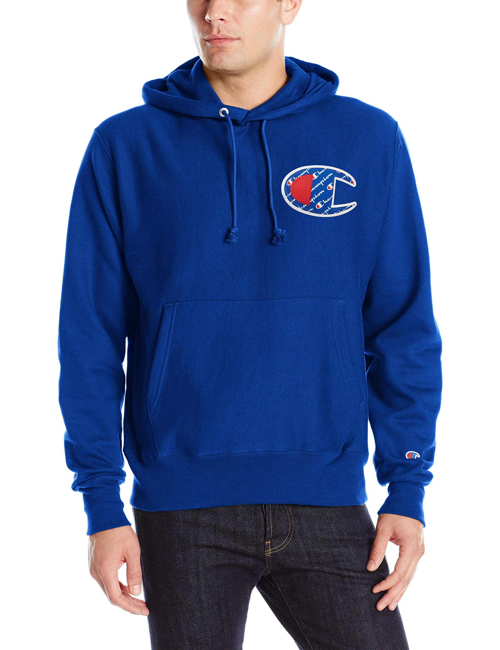 Champion LIFE Men's Reverse Weave Pullover Hoodie, surf The Web/Sublimated c Logo, Large by Champion LIFE