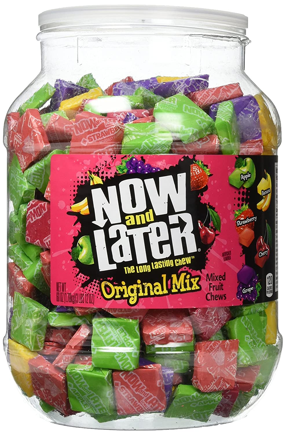 Now and Later Original Chews Candy, Assorted, 60 Ounce Jar, 150 Count (01763)