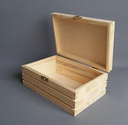Caja de madera lisa de madera pecho tesoro jawellery Decoupage Craft cajas de almacenamiento