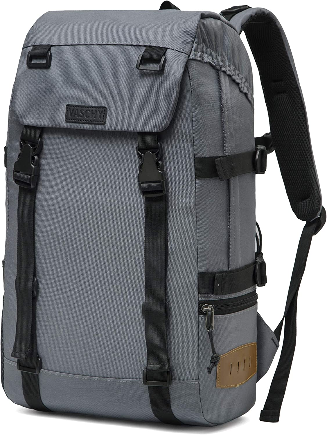 Vaschy Camping Hiking Rucksack Daypack Casual High School Backpack fits 15 in Laptop Black