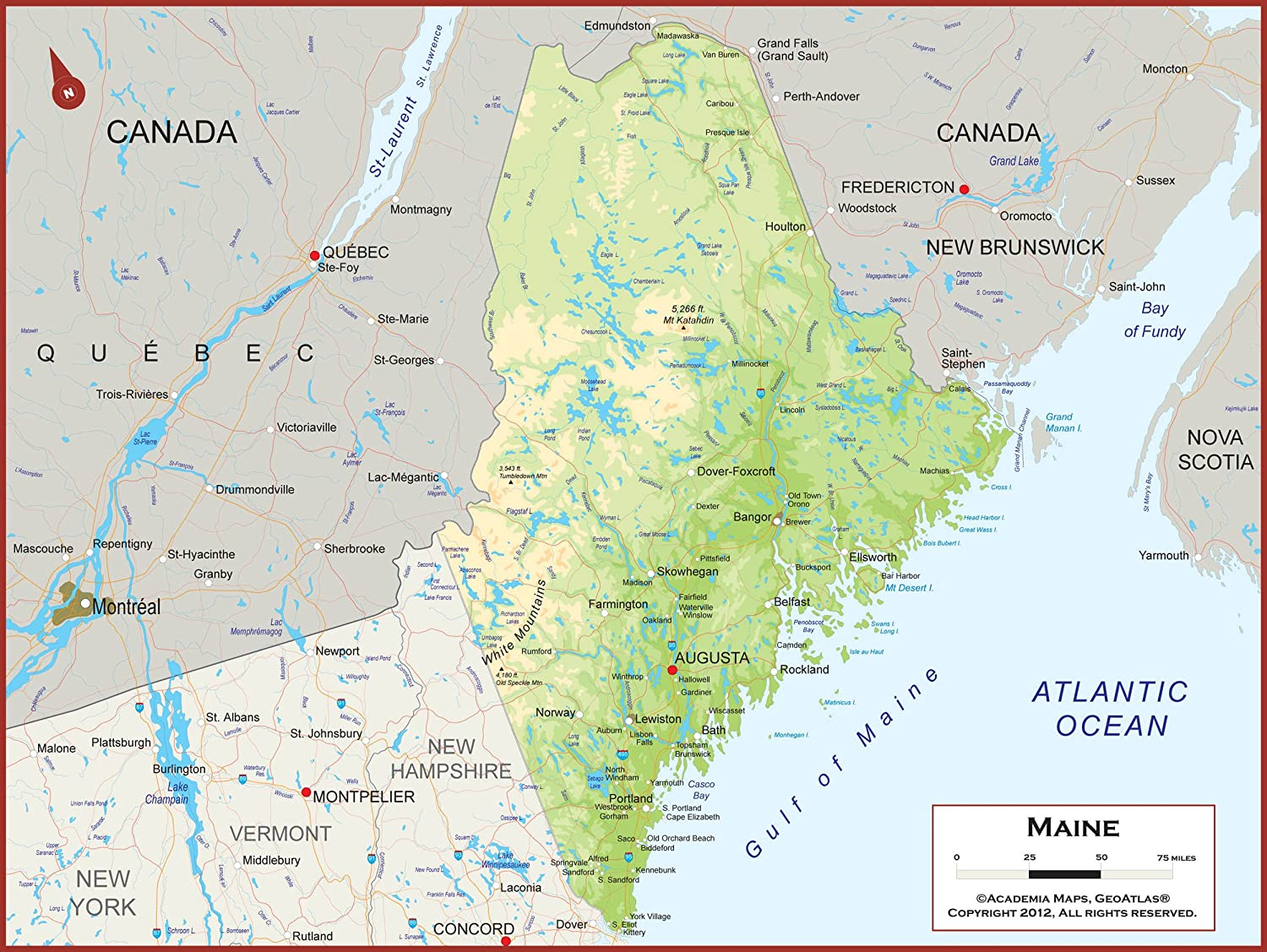 State Of Maine Map With Cities.Amazon Com 60 X 45 Giant Maine State Wall Map Poster With