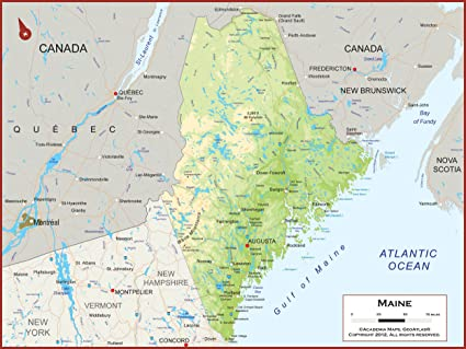 State Of Maine Map With Cities.Amazon Com Academia Maps Maine State Wall Map Fully Laminated