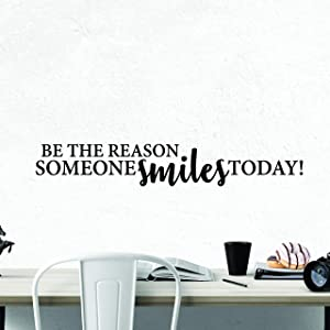 My Vinyl Story - Be The Reason Someone Smiles Today - Inspirational Wall Decal Motivational Wall Art Quote Positive Home Office School Classroom Decor Vinyl Decoration Encouragement Gift 36x5 Inches
