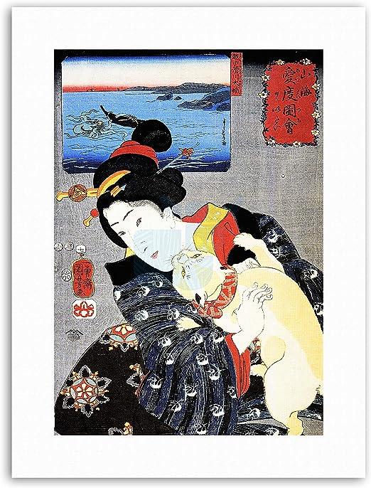 "Woman Reading with Cat Utagawa Kuniyoshi Canvas Print Poster 16X12/"""