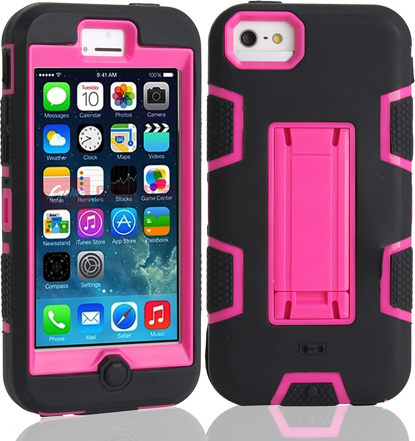 Slim Thin iPhone 5C Armor Kickstand Case,Heavy Duty rose 2 Hybrid Shock Absorption Scratch Resistant TPU Grip Skin Silicone Full-body Protective Cover Shell for Apple iPhone 5C