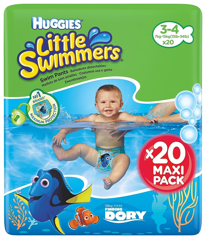 Huggies Little Swimmers Taille 3-4 (7-15 kg), Couche-Culotte de Bain pour Bébé x20 Culottes 5029053535852