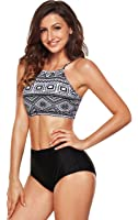 CoolEnding Women's Retro High Waisted Swimsuit Crop Bikini Top Banded Swimwear