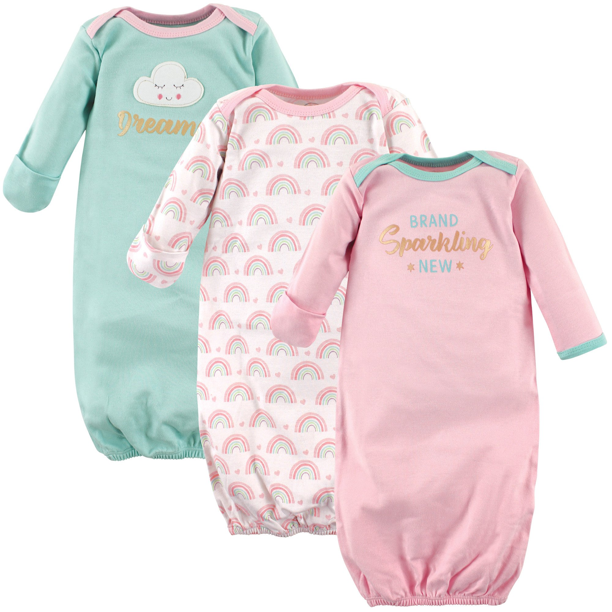Luvable Friends Baby 3 Pack Cotton Gown, Sparkling New, 0-6 Months by Luvable Friends