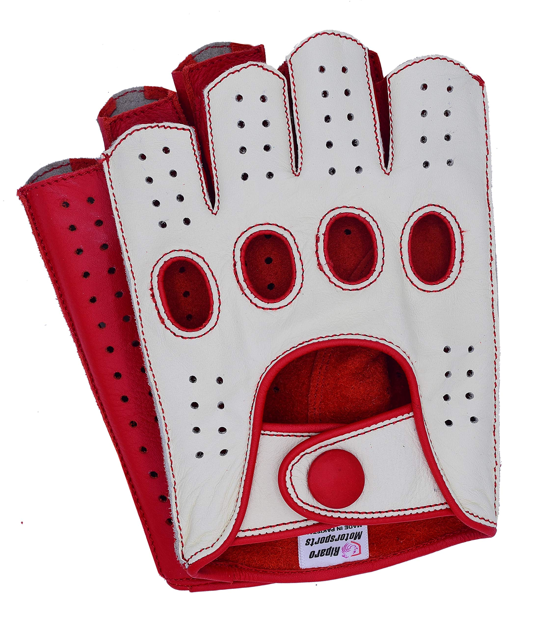 Riparo Mens Leather Reverse Stitched Fingerless Half-Finger Driving Motorcycle Gloves (Medium, White/Red)