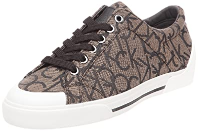 ac24fcb444 Calvin Klein Women s Giselle Ck Logo Fabric rounded tips brown Size  7 UK