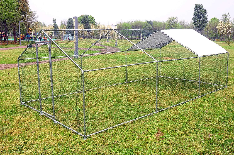 wonline Large Mental Chicken Coop Hen Rabbit Chicken Cage Backyard Walk-in Pens Crate Enclosure Playpen Pet Exercise