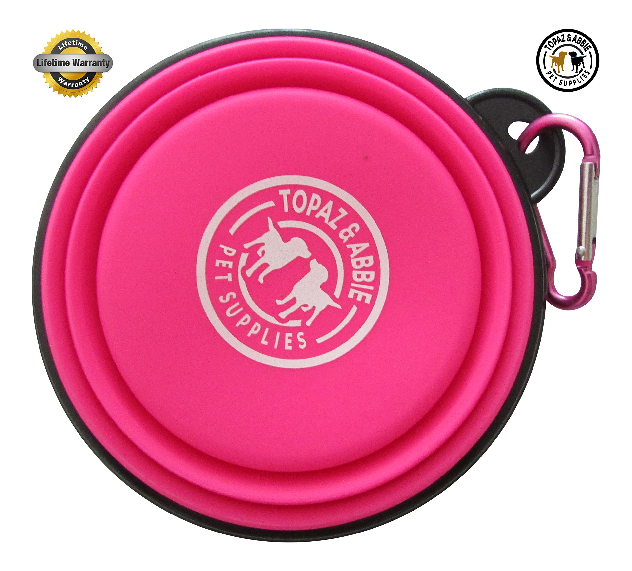 Travel Dog Bowl Collapsible BEST QUALITY by Topaz & Abbie - Premium Quality Pet Travel Bowl for Food & Water Bowls in Bright Colors - 100% (PINK)