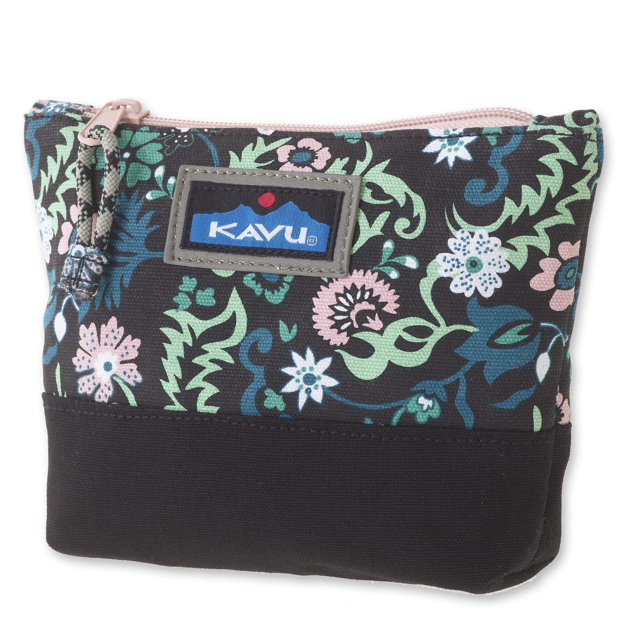 KAVU Quick Zip Accessory Pouch Small Makeup Cosmetic Travel Bag - Whimsical Meadow