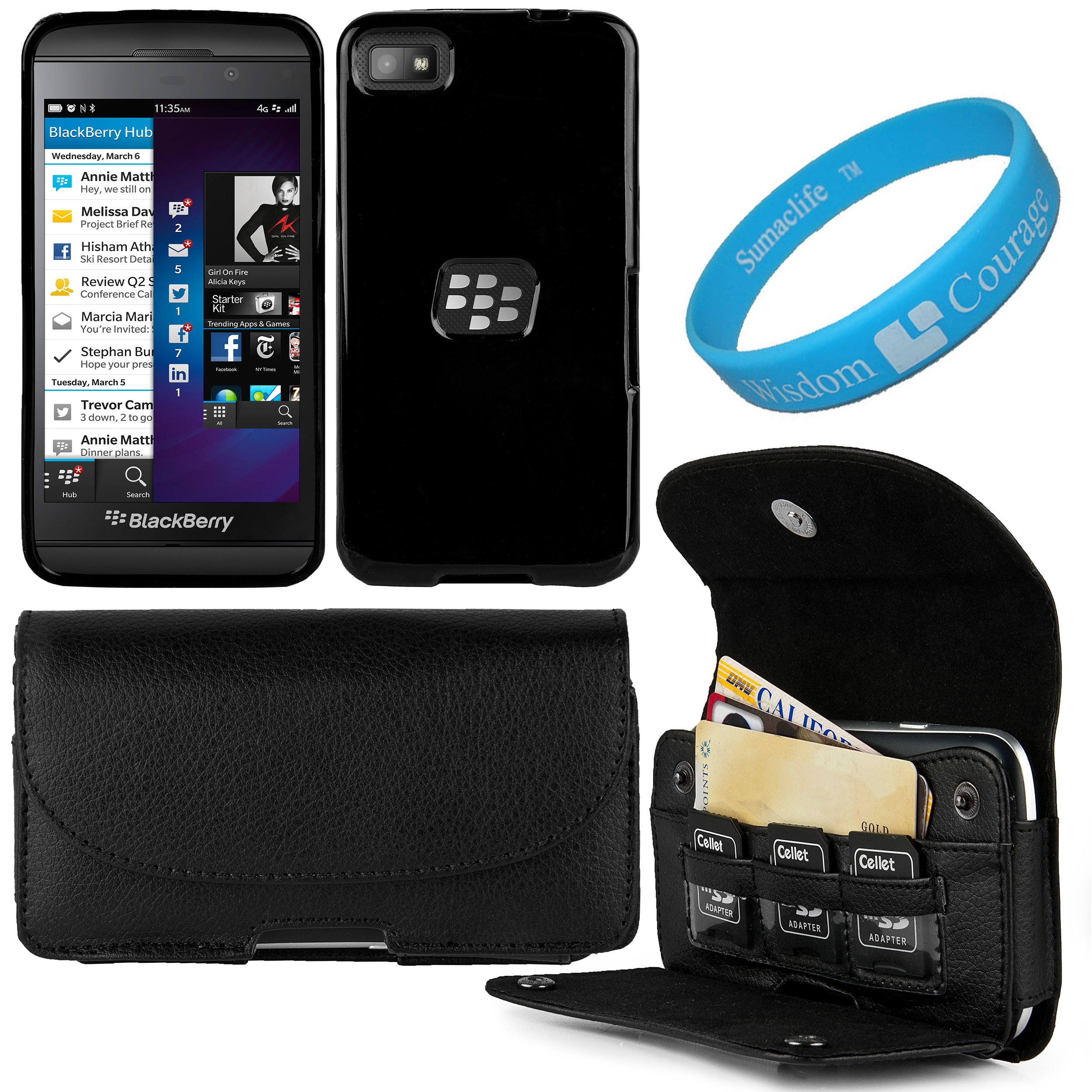 Black Executive Faux Leather Wallet Holster Case with Credit Card Slots for BlackBerry Z10 Smart Phone and Black Premium TPU Skin Cover Case and SumacLife TM Wisdom Courage Wristband