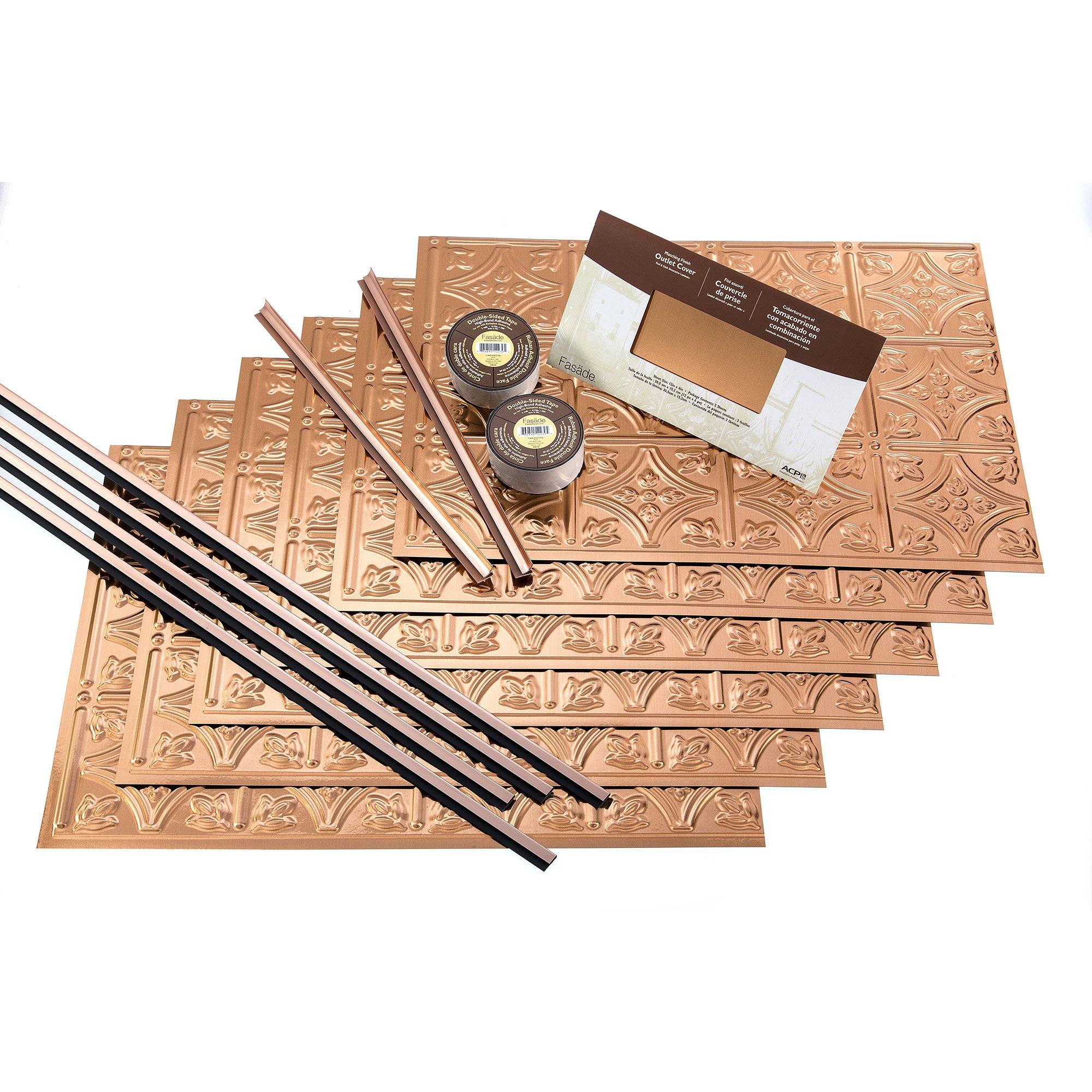 FASÄDE Easy Installation Traditional 1 Polished Copper Backsplash Panel for Kitchen and Bathrooms (18 sq ft Kit)