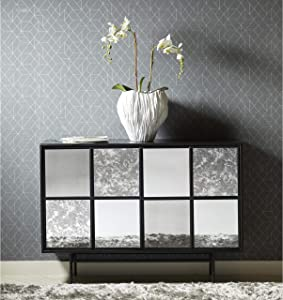 Right2Home Mirror Panel Four Door Sideboard Server or Buffet Console Table, Black