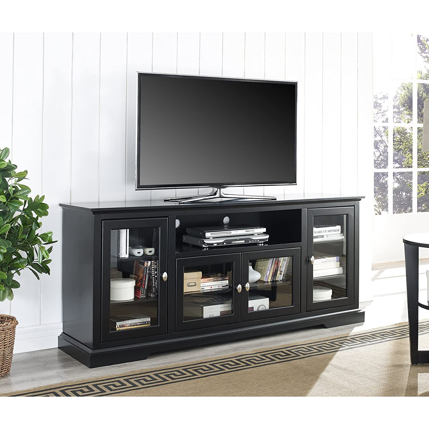 Amazoncom WE Furniture 70 Highboy Style Wood TV Stand Console