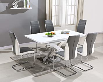 Pescara Dining Table Set And 4 6 8 Upholstered Padded Grey White Faux Leather Chairs By FURNITUREONER Amazoncouk Kitchen Home