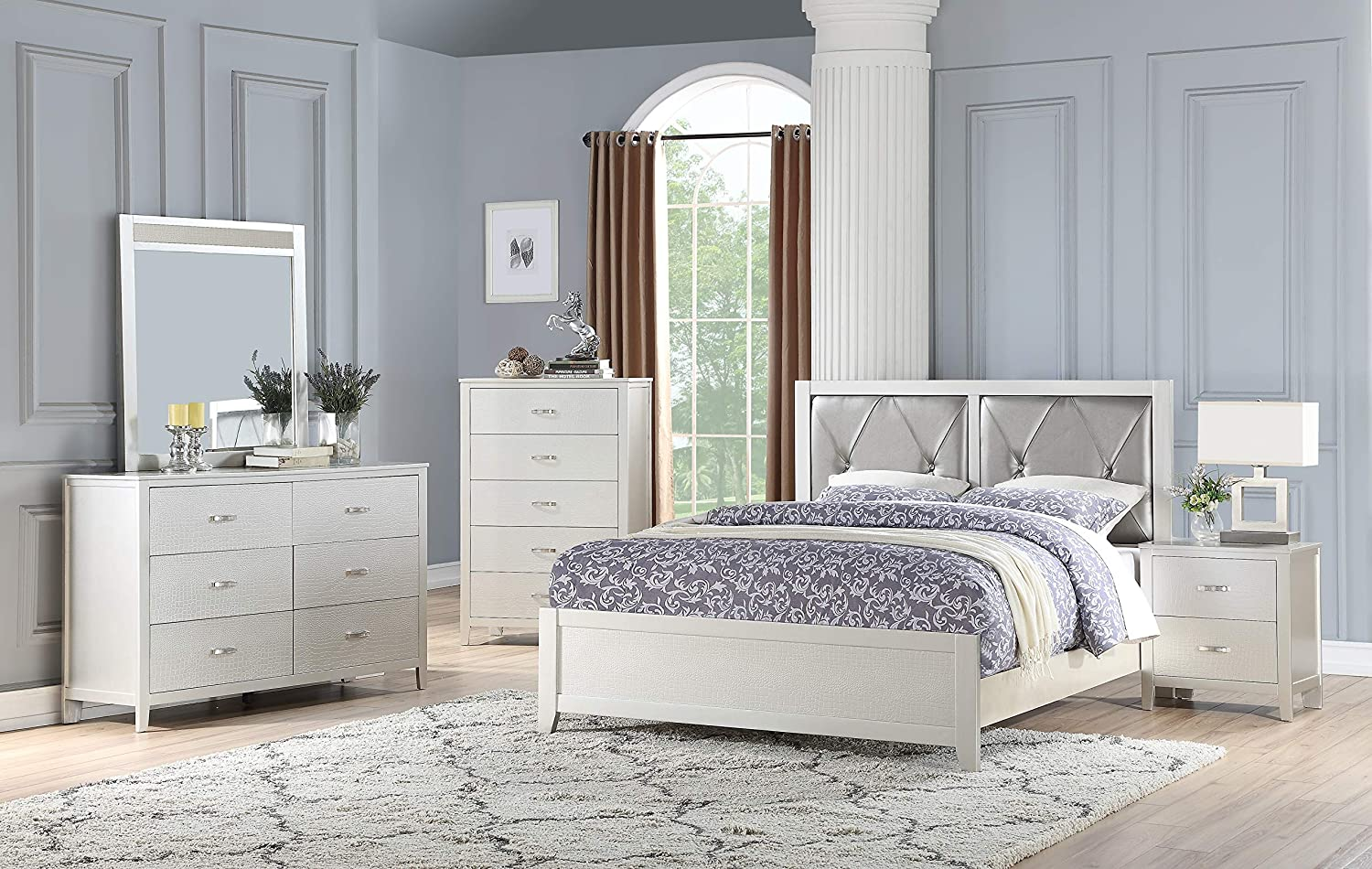 Amazon com esofastore modern classic beautiful traditional look silver 4pc set bedroom furniture queen size bed dresser mirror nightstand faux leather
