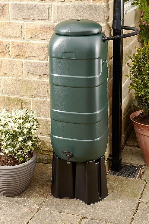 Mini depósito de agua de lluvia, incluye Extremo / grifo / soporte / desviador, y una maceta Buttacup verde: Amazon.es: Jardín