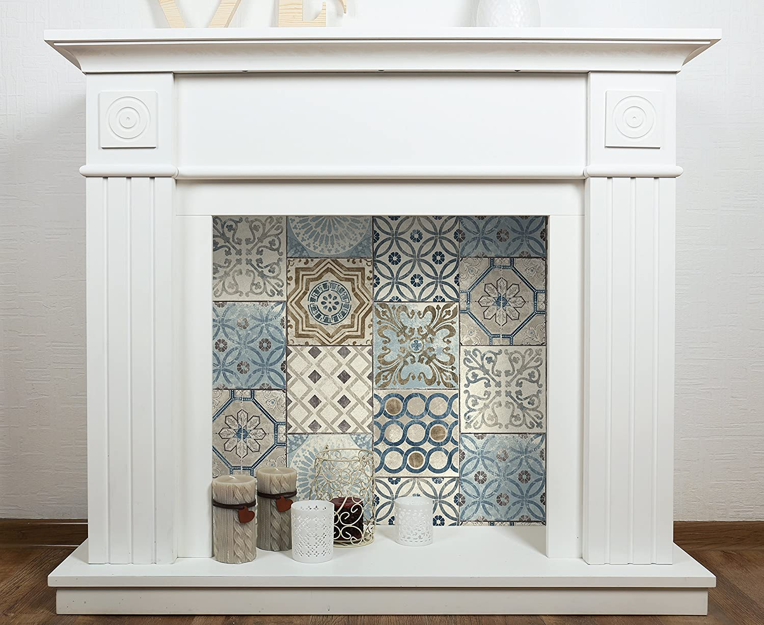 Blue, Copper /& Grey NextWall Moroccan Style Peel and Stick Mosaic Tile Wallpaper.