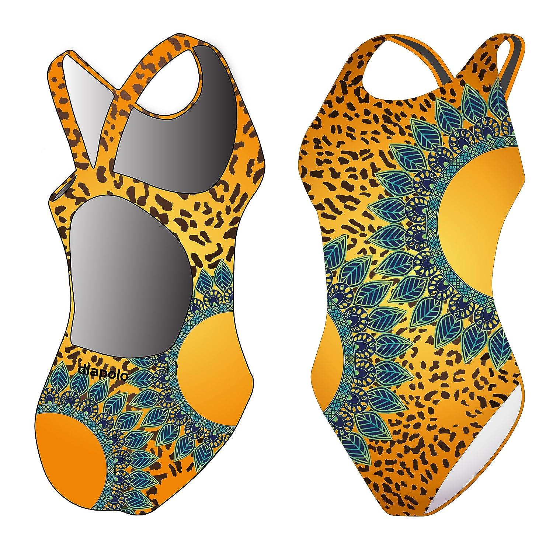 Diapolo Leopard Flower Badeanzug Design Kollektion für Schwimmen Synchronschwimmen Wasserball Thriathlon