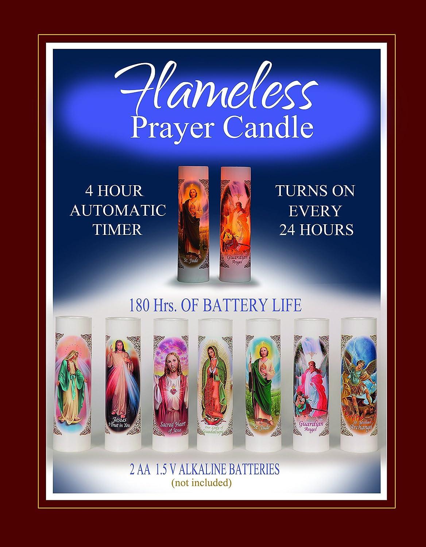 San Miguel Arcangel Michael Archangel St LED Flameless Prayer Candle with Automatic Timer English /& Spanish| Catholic//Religious Idea Veladora de Oracion Sin Llama