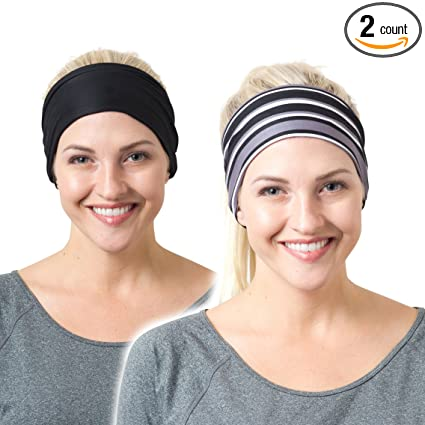 Amazon.com  RiptGear Headband 2Pack - Black Solid and Black Striped ... 6647c7566e5