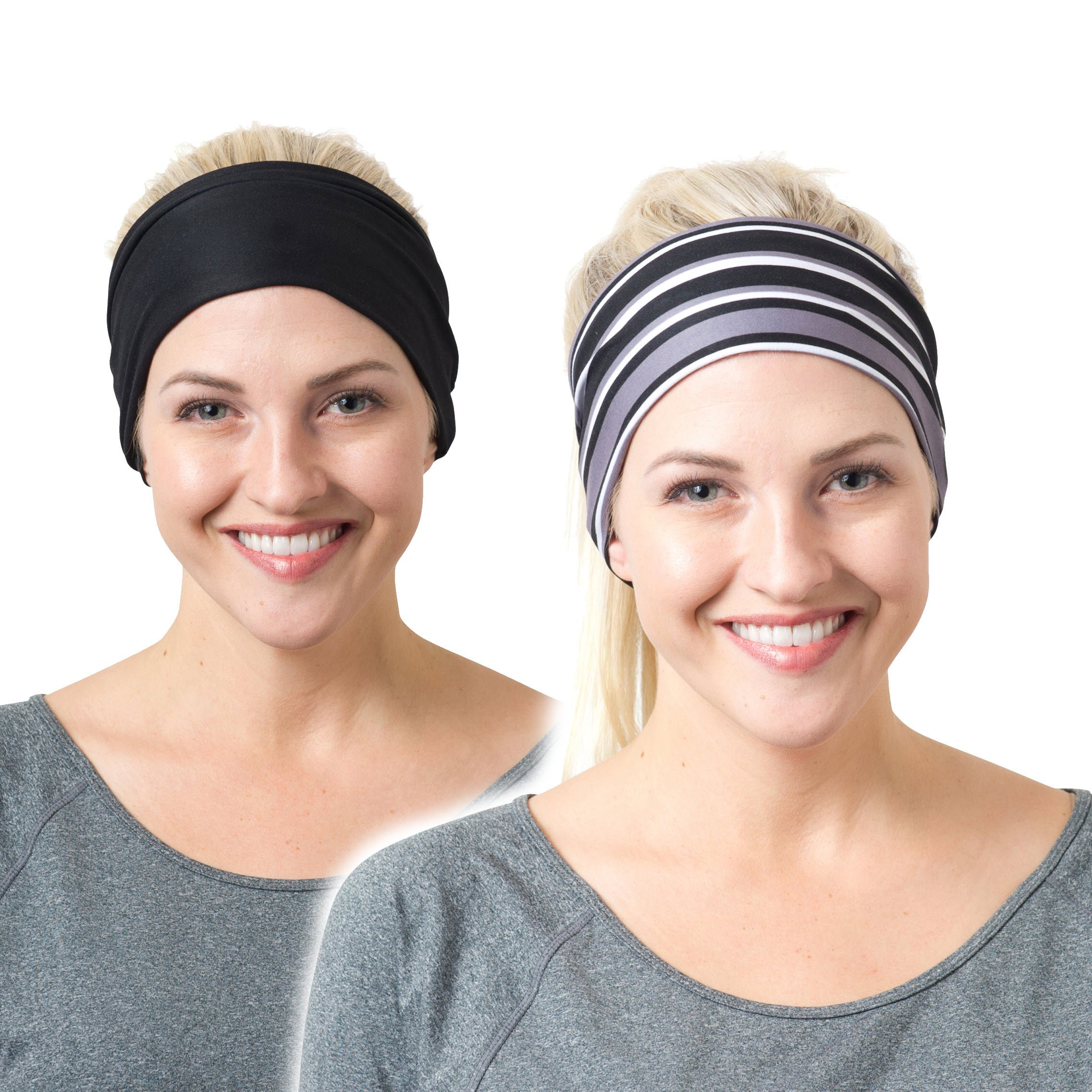 RiptGear Headband 2Pack - Black Solid and Black Striped
