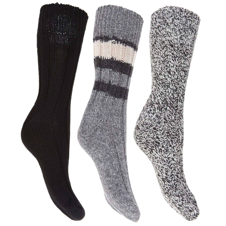 Floso- Calcetines térmicos gruesos con lana (pack de 3) para mujer (37-41/Azul): Amazon.es: Ropa y accesorios