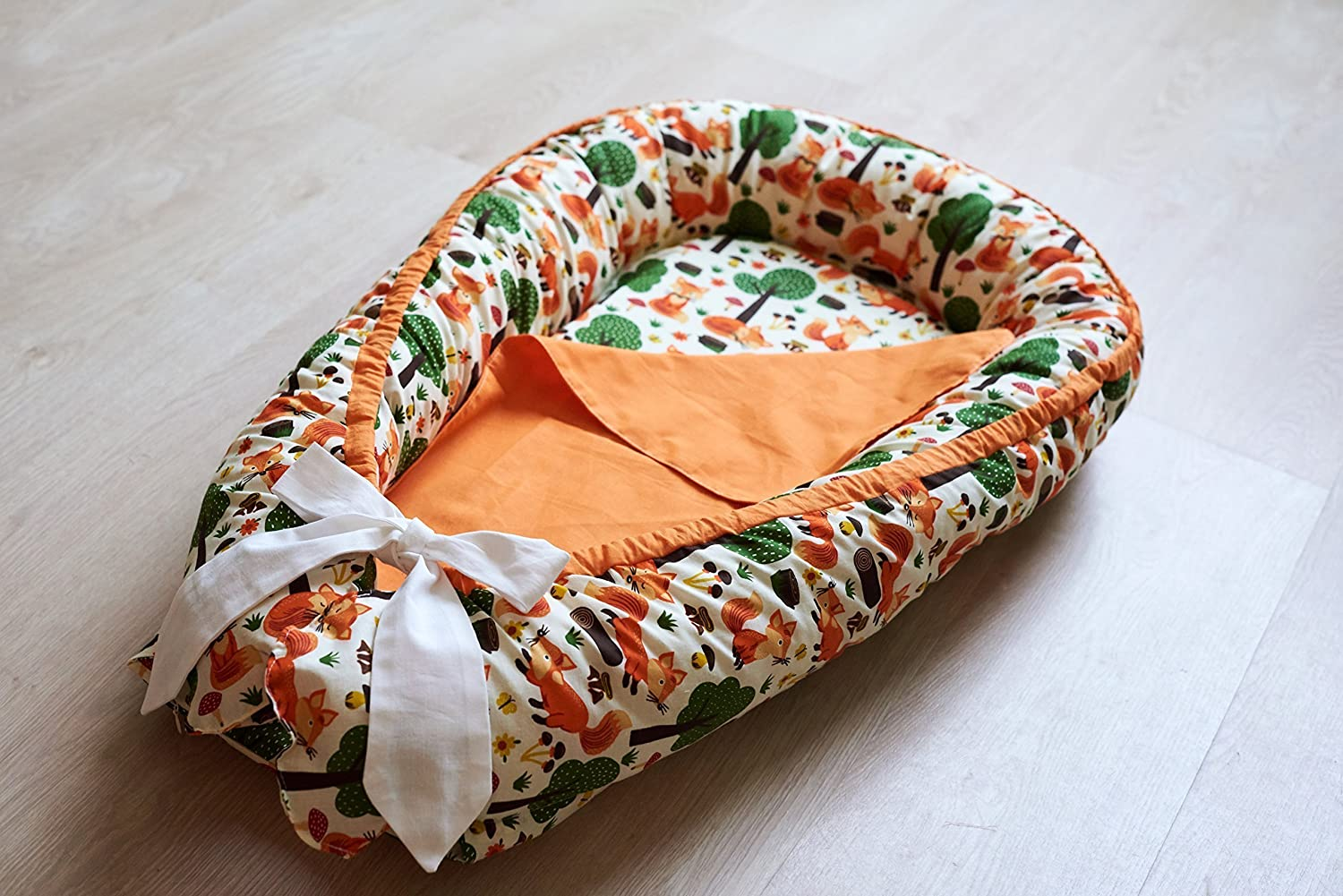 Baby Nest Snuggle Nest Cotton Baby Furniture Orange Fox