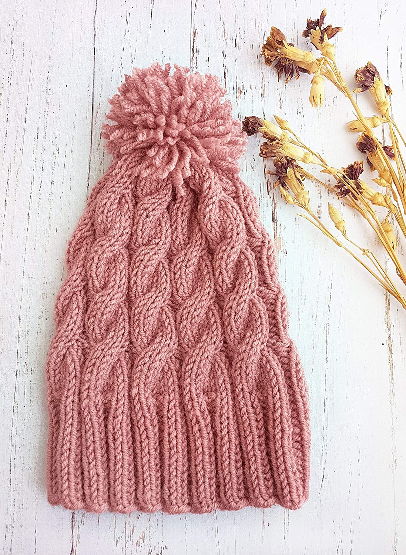 beb792e93 Women's cable knit beanie with pom pom - Pink beanie Knit beanie ...