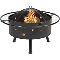 Best Choice Products 30in Outdoor Patio Fire Pit BBQ Grill Fire Bowl Fireplace w/Star Design - Black