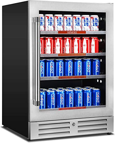 Beverage Refrigerator 24 inch Stainless Steel Shelf 154 Can Built-in or Freestanding