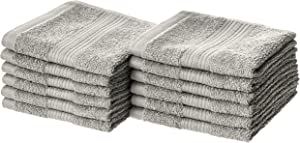 AmazonBasics Fade-Resistant Cotton Washcloths - Pack of 12, Grey