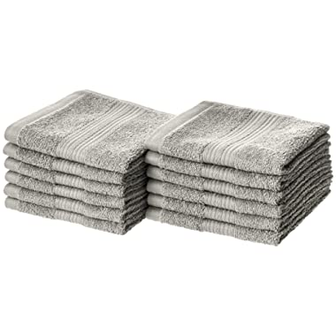 AmazonBasics Fade-Resistant Cotton Washcloth - 12-Pack, Grey