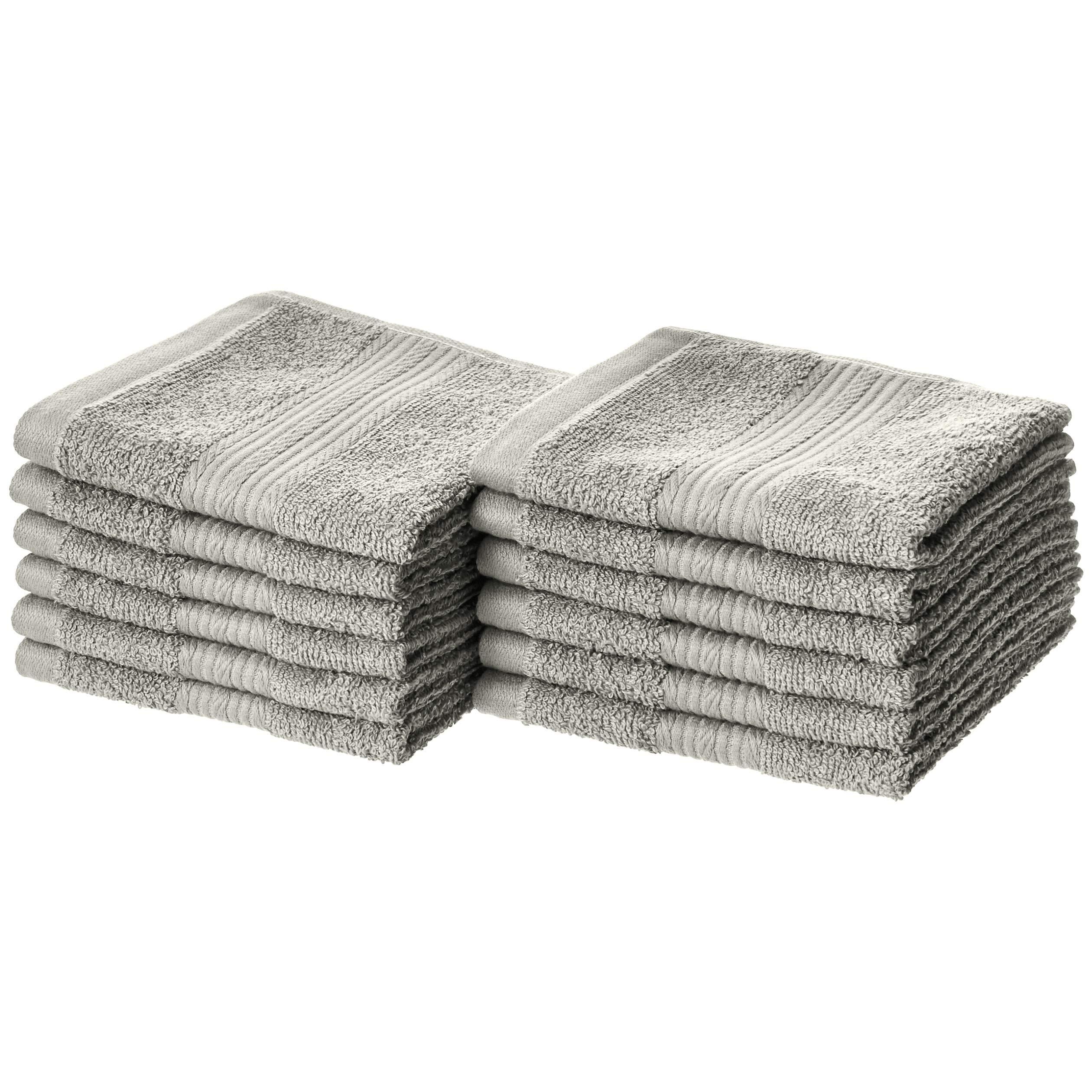 AmazonBasics Fade-Resistant Cotton Washcloths - Pack of 12, Grey