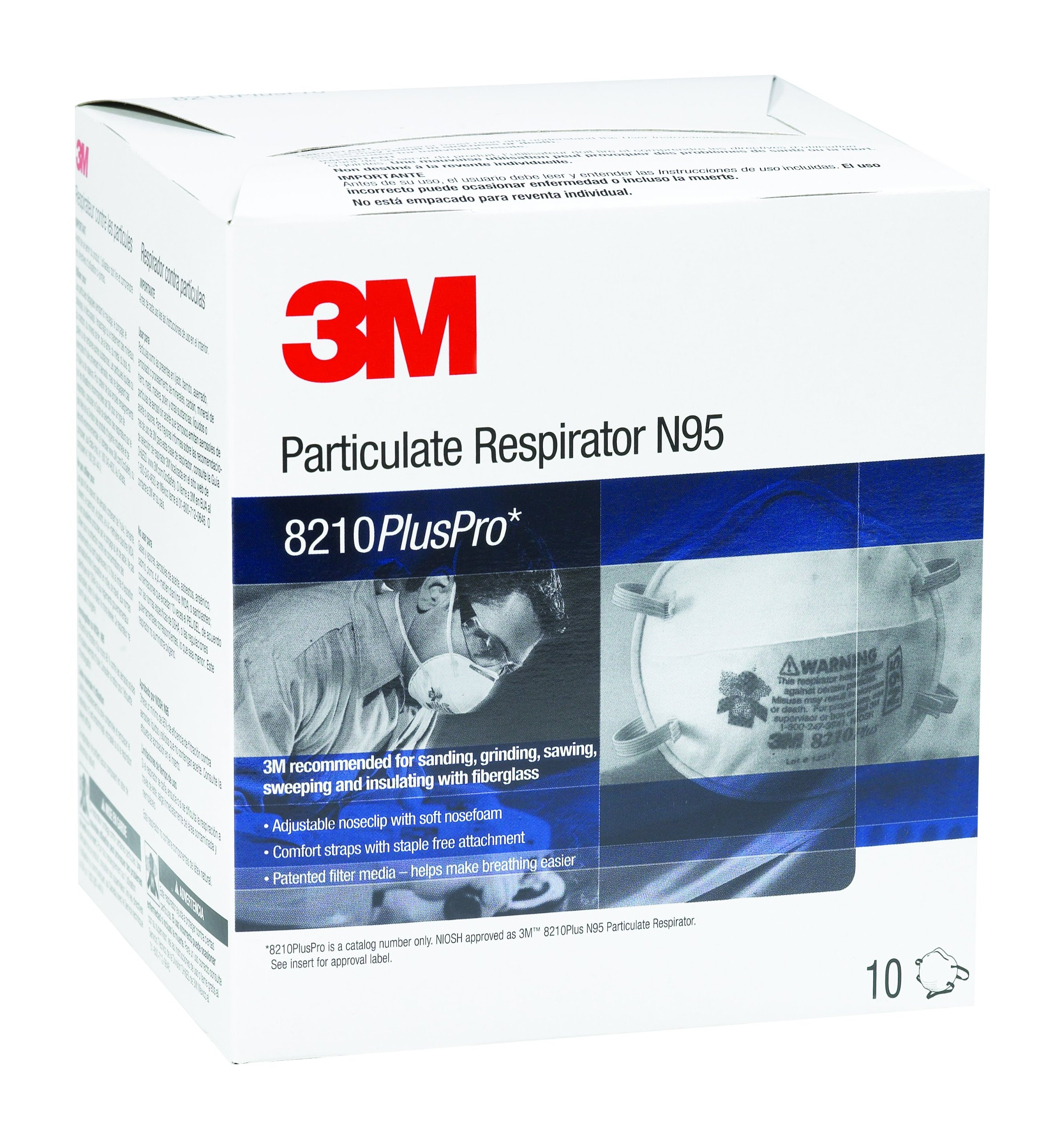 3M Particulate Respirator 8210PlusPro, N95 (Pack of 10)