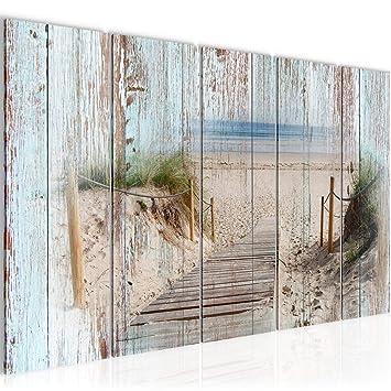 Bilder Strand Holz Bretter Wandbild 200 x 80 cm Vlies - Leinwand ...
