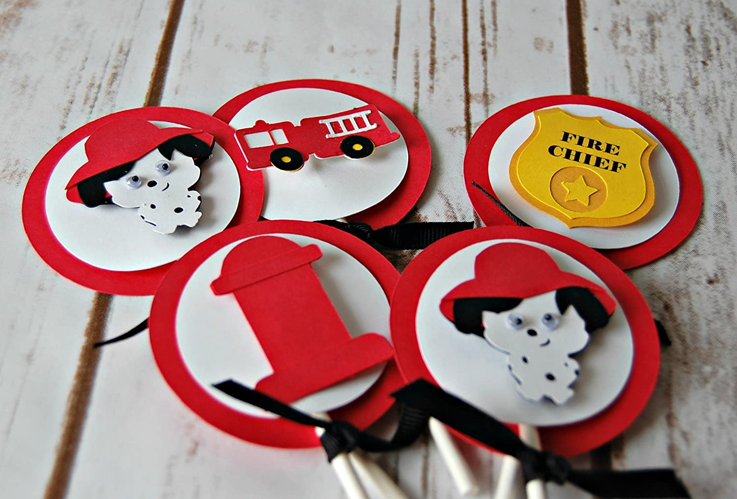Firefighter Cupcake Decorations Amazoncom Firefighter Birthday Party Cupcake Toppers Set Of 24