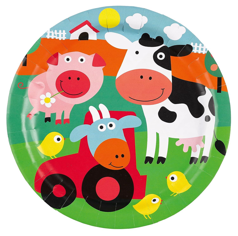 gobelets avec assiettes pour 8/enfants Kit de f/ête 37/pi/èces /«/Animaux de la ferme//» serviettes et nappe