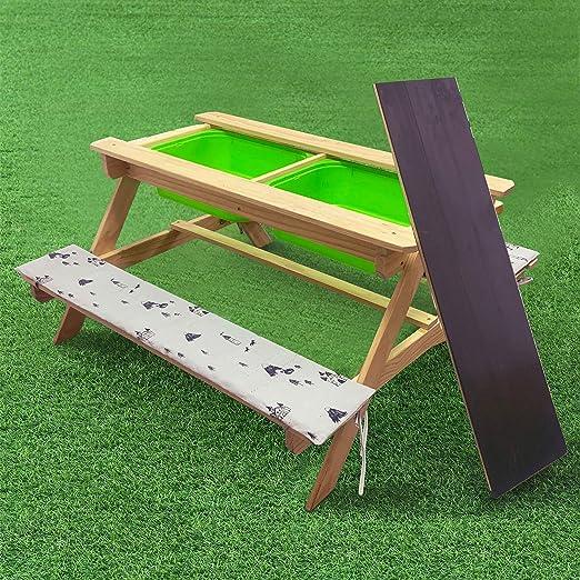 Juego de mesa y sillas de picnic para niños con cojines, mesa de ...