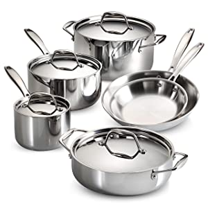 Tramontina 80116/248DS Gourmet Stainless Steel Induction-Ready Tri-Ply Clad 10-Piece Cookware Set, NSF-Certified, Made in Brazil