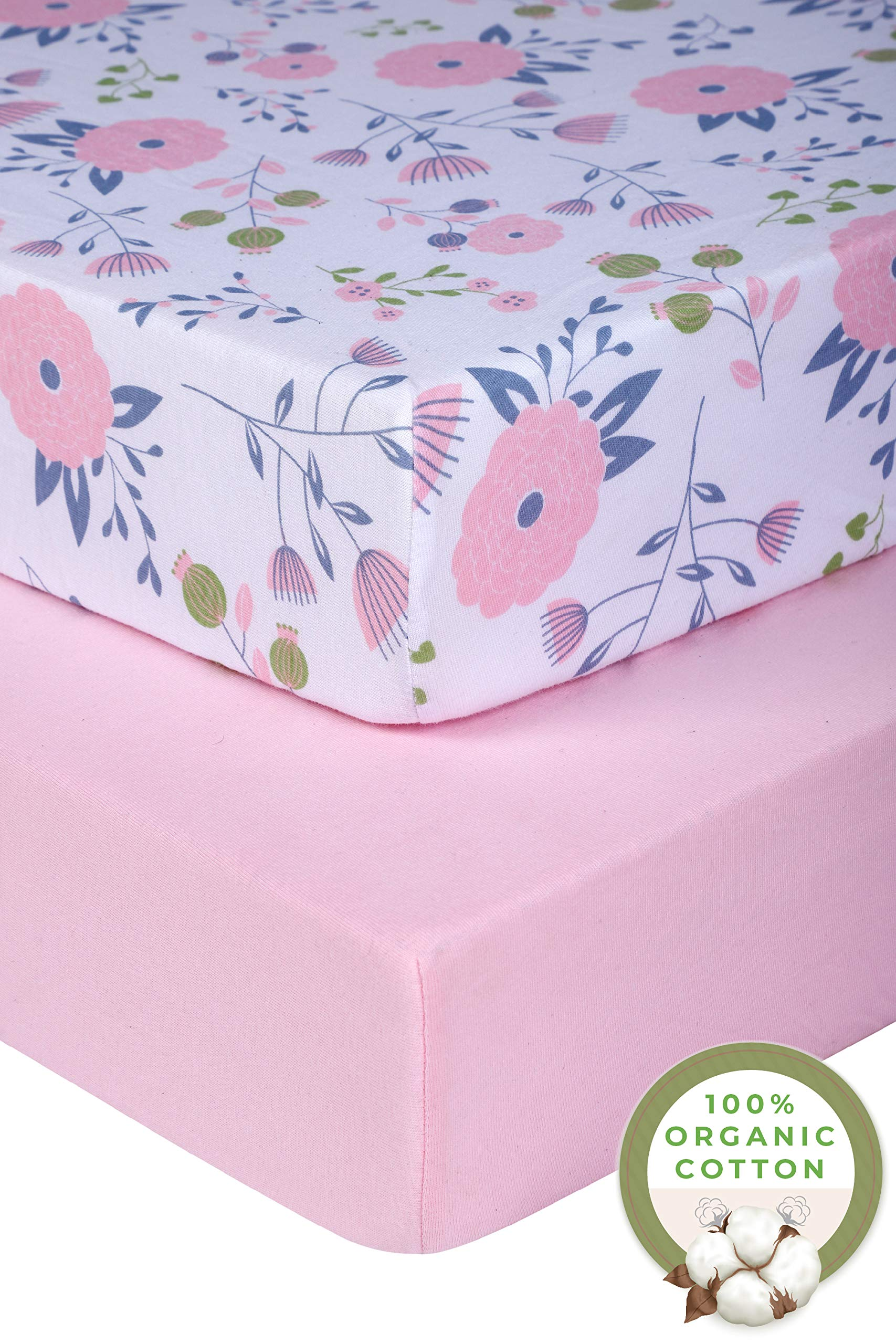 Pickle & Pumpkin Fitted Crib Sheets (2 Pack) in 100% Organic Jersey Cotton | Baby Girl | Toddler Mattress or Standard Crib Mattress Sheets | Pink & Floral Crib Sheet Set | Toddler Bedding (28''x 52'') by Pickle & Pumpkin