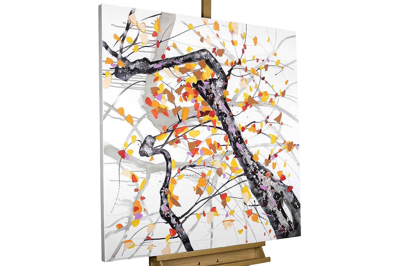 KunstLoft® Acryl Gemälde 'Orangenblüten im Sonnenschein' 80x80cm   original handgemalte Leinwand Bilder XXL   Abstrakter Baum Ast Orange Weiß   Wandbild Acrylbild moderne Kunst einteilig mit Rahmen