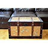 Styled Shopping Gold Leaves Large Wood Storage Trunk Wooden Treasure Chest