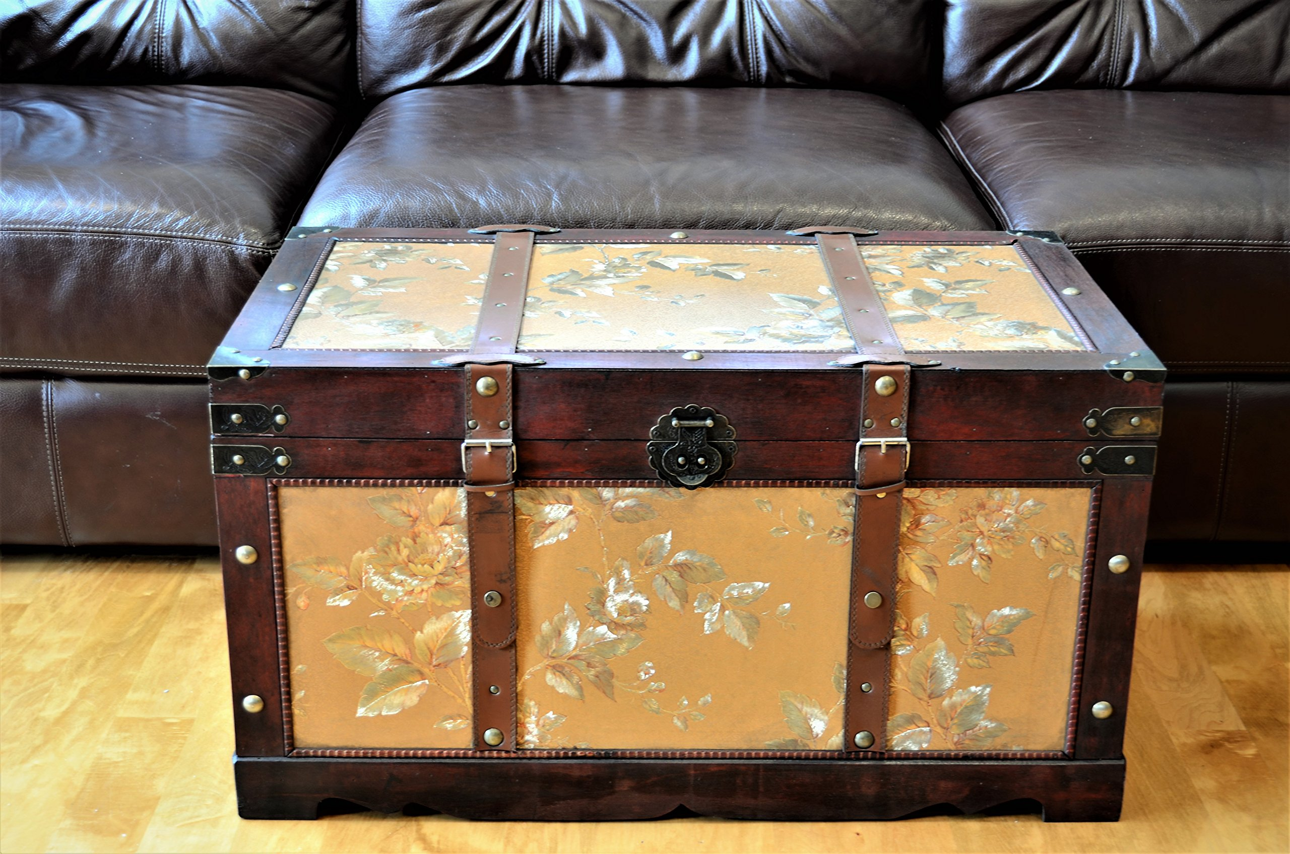 Gold Leaves Medium Wood Storage Trunk Wooden Treasure Chest