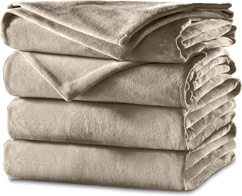 Sunbeam Heated Blanket | Velvet Plush, 10 Heat Settings, Mushroom, Full - BSV9GFS-R772-12A44: Home & Kitchen